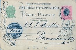 1904 , BRASIL , ENTERO POSTAL CUIABÁ - BRAUNSCHWEIG , TRÁNSITO DE RIO DE JANEIRO , LLEGADA - Enteros Postales