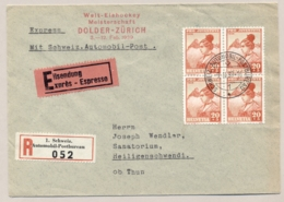 Schweiz - 1939 - 20c Pro Juventute In 4-block On R-Express Cover From Automobil Postbureau To Heiligenschwendi - Brieven En Documenten