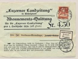 Schweiz - 1926 - 20c Tell On Abonnements Quittung From Escholzmatt To Kottwyl - Annahme Verweigert / Rejected - Zwitserland