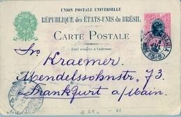 1900 , BRASIL , ENTERO POSTAL BAHIA - FRANKFURT , CIRCULADO VIA LISBOA CON TRÁNSITO AL DORSO , LLEGADA - Enteros Postales