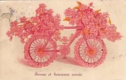Thematiques Voeux Bonne Et Heureuse Année Bicyclette Vélo Fleurs - New Year