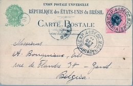 1905 , BRASIL , ENTERO POSTAL BAHIA - GAND ( BÉLGICA ) , LLEGADA - Enteros Postales