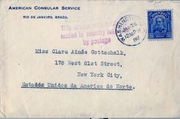 1917 , BRASIL , AMERICAN CONSULAR SERVICE, RIO DE JANEIRO - NEW YORK , MARCA CORREO AMERICANO , FECHADOR DE WASHINGTON - Brasil