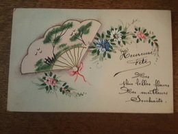 Heureuse Fête - Superbe Carte Toilée Peinte à La Main - Eventail, Fleurs - Fleurs