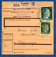 Colis Postal  -  Départ  Forbach  --  14/12/1942 - Allemagne