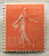 Timbre France YT 203 (*) 1924-32 Semeuse Lignée 80c Rouge (côte 30 Euros) – 153a - 1903-60 Semeuse Lignée