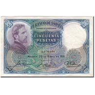 Billet, Espagne, 50 Pesetas, 1931, 1931-04-25, KM:82, SUP - [ 1] …-1931 : Eerste Biljeten (Banco De España)