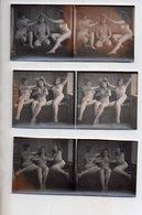REF 345:  Photo Stéréoscopique 12,5 X 6 Cm Nu Féminin Erotisme Seins Nus Nude Lot De 3 Trio De Nymphes - Stereoscopic