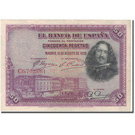 Billet, Espagne, 50 Pesetas, 1928, 1928-08-15, KM:75b, TTB - [ 1] …-1931 : Eerste Biljeten (Banco De España)