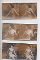 REF 345:  Photo Stéréoscopique 12,5 X 6 Cm Nu Féminin Erotisme Seins Nus Nude Lot De 3 - Photos Stéréoscopiques