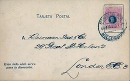 1919 , PERÚ , TARJETA COMERCIAL CIRCULADA , MOLLENDO - LONDRES - Perù