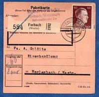 Colis Postal  - Départ Forbach  -  15/07/1943 - Allemagne