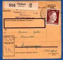 Colis Postal  - Départ Forbach  -  1/12/1942 - Allemagne