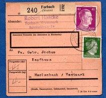 Colis Postal  - Départ Forbach  -  29/1/1943 - Allemagne