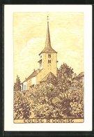 Künstler-AK Concise, Blick Auf Die Kirche / Eglise - VD Vaud