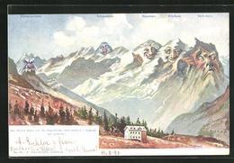 Künstler-AK Ernst Schlemo, Killinger Nr. 95: Berner Alpen V. D. Engstlenalp Betrachtet, Berg Mit Gesicht / Berggesich - Schlemo, F.