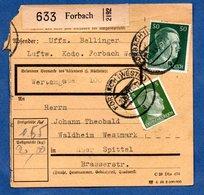 Colis Postal  - Départ Forbach  -  20/9/1943 - Allemagne