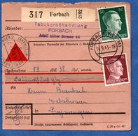 Colis Postal  - Départ Forbach  -  14/9/1943 - Allemagne