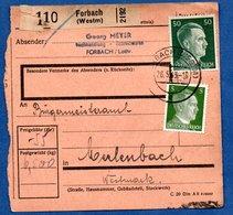 Colis Postal  - Départ Forbach  -  26/5/1943 - Allemagne
