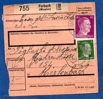 Colis Postal  - Départ Forbach  -  27/3/1943 - Allemagne