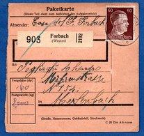 Colis Postal  - Départ Forbach  -  24/5/1943 - Allemagne
