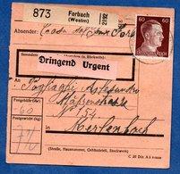 Colis Postal  - Départ Forbach  -  20/3/1943 - Duitsland