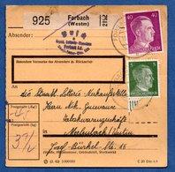 Colis Postal  - Départ Forbach  -  20/3/1943 - Allemagne