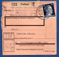Colis Postal  - Départ Forbach  -  30/3/1943 - Allemagne