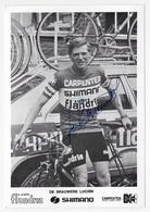 CARTE CYCLISME LUCIEN DE BRAUWERE TEAM CARPENTER SHIMANO 1973 - Cyclisme