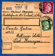 Colis Postal  - Départ Forbach  - Pour Betting   30/11/1943 - Allemagne