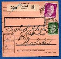 Colis Postal  - Départ Forbach  -  04/05/1943 - Allemagne