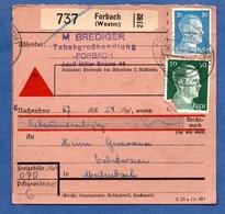 Colis Postal  - Départ Forbach  -  12/06/1943 - Allemagne