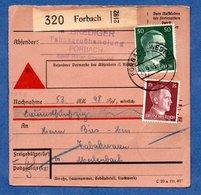 Colis Postal  - Départ Forbach  -  14/09/1943 - Allemagne