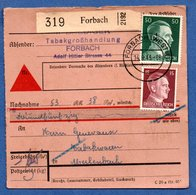 Colis Postal  - Départ Forbach  -  16/09/1943 - Allemagne
