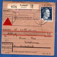 Colis Postal  - Départ Forbach  -  02/02/1943 - Allemagne