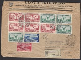 Pli Recommandé Afrt à 11 Timbre Feria De La Somalia 1953 Oblt MOGADISCIO Pour DJIBOUTI - Somalie