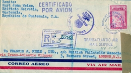 1952 , GUATEMALA , CORREO AÉREO , CERTIFICADO , VIA TRANS - ATLANTIC CLIPPER A LONDRES , VIA WASHINGTON - Guatemala