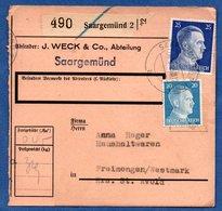 Colis Postal  - Départ Saargemund 2 -  06/03/1943 - Allemagne