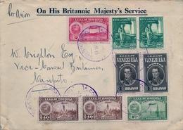 "1939 , VENEZUELA , CARACAS - CARIPÌTO , CORREO CONSULAR , "" ON HIS BRITANNIC MAJESTY'S SERVICE "", MAGNÍFICO SOBRE - Venezuela"