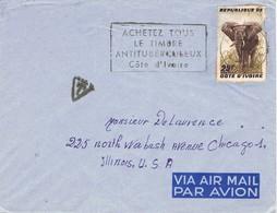 30917. Carta Aerea ADJAME (Costa De Marfil)  Côte D'Ivoire. TAXE. Antituberculeux. Elephant - Costa De Marfil (1960-...)
