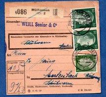 Colis Postal  - Départ Mülhausen 2   -  2/03/1943 - Allemagne