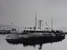 Rare!  Belle Grande Photo Ancienne Cuirassé Classe Bélier Tampon à L'arrière Militaria Navire - Guerre, Militaire