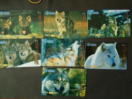 CHINA USED CARDS SET 7 ANIMALS  WOLF - Chine