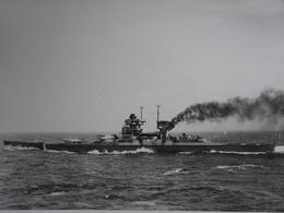 Rare!  Belle Grande Photo Ancienne Cuirassé Jean Bart Tampon à L'arrière Militaria Navire - Guerre, Militaire