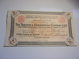 THE TRACTOR & ENGINEERING COMPANY (1950) Le Caire,égypte - Actions & Titres