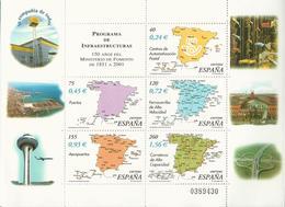 Espagne_Bloc-feuillet_150ème Anniversaire Du Ministère Des Travaux Publics - Blocchi & Foglietti
