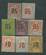 Réunion N° 72 / 79  X Type Groupe Surchargés : La Série Des 8 Valeurs, Trace De Charnière Sinon TB - Réunion (1852-1975)