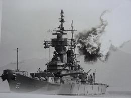 Rare!  Belle Grande Photo Ancienne Cuirassé New Jersey Tampon à L'arriere Militaria Navire - Guerre, Militaire