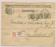 Deutsches Reich - 1923 - 4x 500Mio On Business Cover From Freiburg To Biebrich - Duitsland