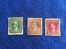 Canada  1937, Set Of 3, King George VI,  Canceled & Hinged - Used Stamps